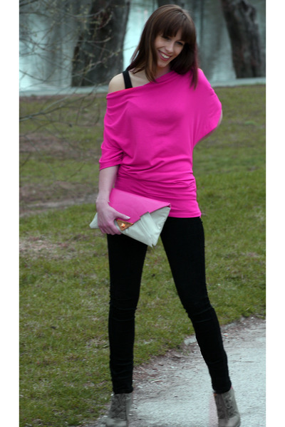 black H&M top - asos bag - black Mango pants - hot pink jumper