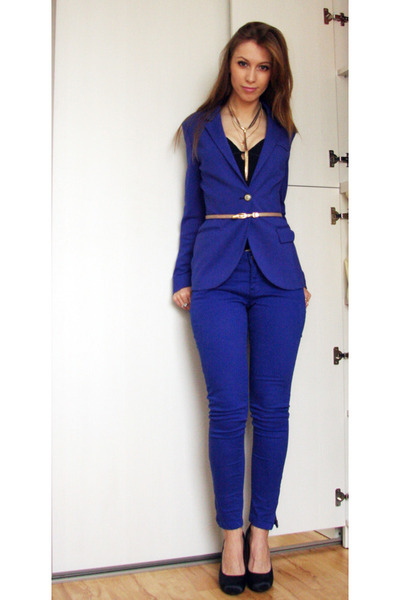 blue reserved jacket - blue reserved pants - navy Zara heels