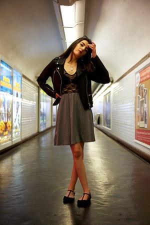 black Topshop jacket - charcoal gray H&M dress - black Primark flats