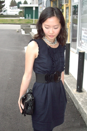 blue Forever 21 dress - black unknown belt - gray Nine West purse - Forever 21 n