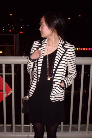 gray Zara jacket - black Forever 21 dress - gold Zara purse - silver payless sho