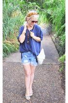 blue silk vintage shirt - white Via Spiga shoes - red vitnage Chanel scarf