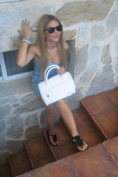black Ray Ban sunglasses - blue Primark dress - white Primark bag