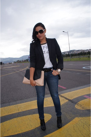 black chaqué Zara blazer - black Zara boots - navy Pinto jeans