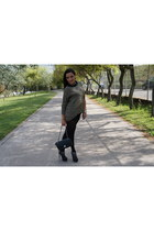 olive green Mango sweater - black Aldo boots - black Chanel bag