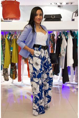 white handmade top - sky blue Bershka blazer - blue palazzos Zara pants