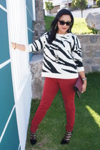 black Shoedazzle heels - ruby red Pull and Bear jeans - black Mango sweater