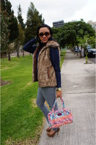 white Marc by Marc Jacobs bag - navy Mango sweater - camel Bershka vest