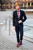 red Pull and Bear shirt - navy Zara blazer - blue Bershka pants