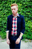 navy Zara jacket - silver Pull and Bear shoes - red Pull and Bear shirt