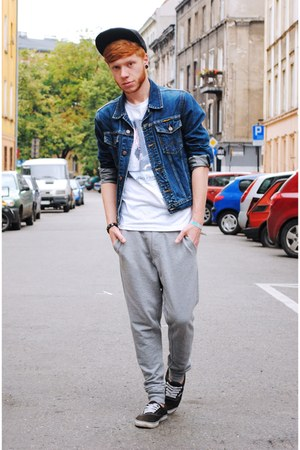 blue Wrangler jacket - black H&M hat - silver Bershka pants
