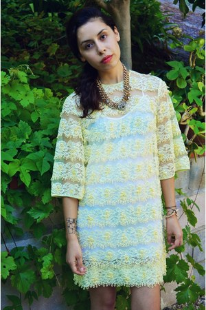 light yellow Tribal Fox Vintage dress