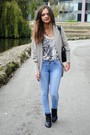 Silver-topshop-sweater-blue-jeans-black-whole-sale-shoes