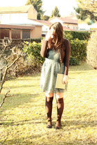 brown Trussardi cardigan - green H&M dress - brown Gallo socks - black shoes