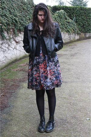 black jacket - black H&M dress - black blazer - black Dr Martens shoes - black C
