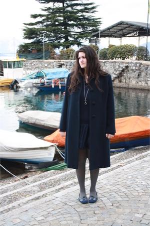 blue Armani Jeans dress - gray H&M socks - blue caf noir shoes - blue coat