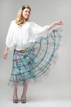 long skirt Look skirt - blouse white top blouse
