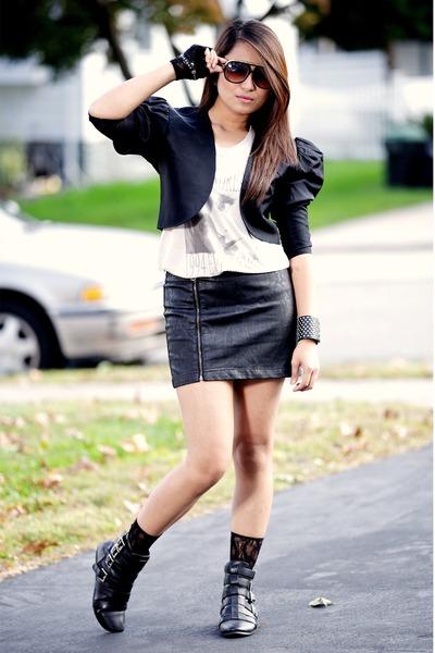 black vintage from Ebay jacket - white H&M shirt - black Forever 21 skirt - blac