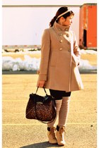 beige wild diva boots - beige Forever 21 coat - Charlotte Russe purse