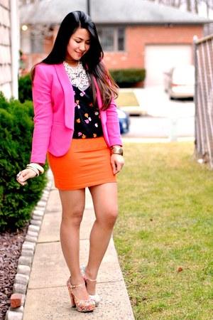 random brand heels - H&M blazer - Forever 21 shirt - H&M top