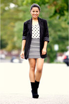 black Boyfies blazer - random brand top - random brand skirt - black Bamboo shoe