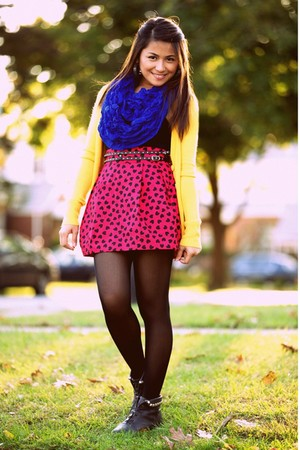 yellow Mango cardigan - blue joyce leslie scarf - red H&M skirt - black Forever