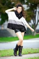gray joyce leslie top - black Forever 21 shorts - black wild diva boots