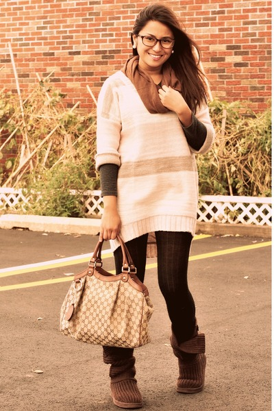 Beige H&M Sweaters, Black Forever 21 Leggings, Brown Ugg Boots ...