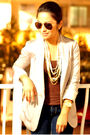 Beige-h-m-blazer-gold-forever-21-necklace-beige-bamboo-shoes