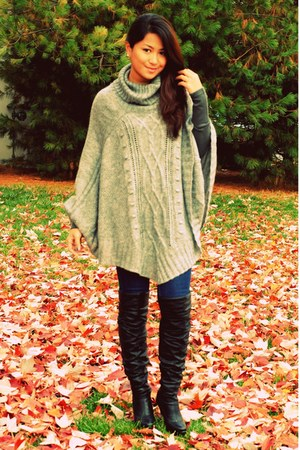 heather gray poncho H&M sweater - black thigh high Qupid boots