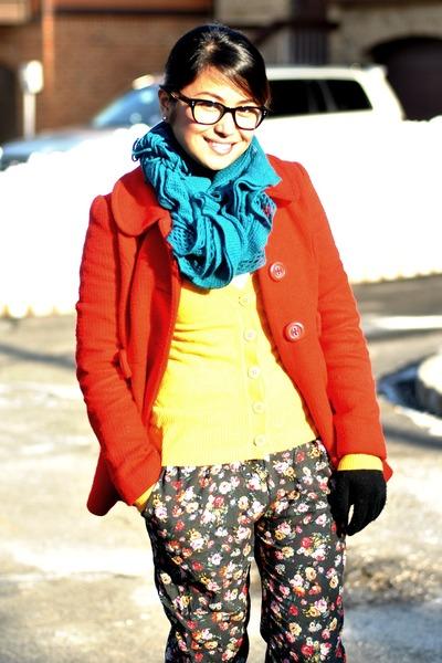3 button Forever 21 coat - floral harem Zara pants