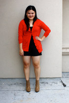 black Wet Seal intimate - black Charlotte Russe shorts - red Forever 21 cardigan