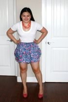 white Forever 21 shirt - blue Marshalls skirt - pink Jessica Simpson shoes - pin