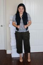 gray Forever 21 shirt - black Forever 21 vest - green Forever 21 pants - beige C