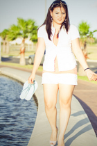 white Rampage shorts - white Wet Seal blouse - blue Havaianas shoes - red Christ