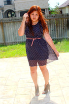 blue Forever 21 dress - heather gray Mrkt shoes - coral Agaci belt