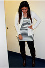 Dark-brown-bamboo-boots-white-macys-dress-black-wet-seal-leggings-white-ny