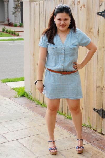 blue Marshalls dress - blue Harajuku Lovers shoes - brown Forever 21 belt -