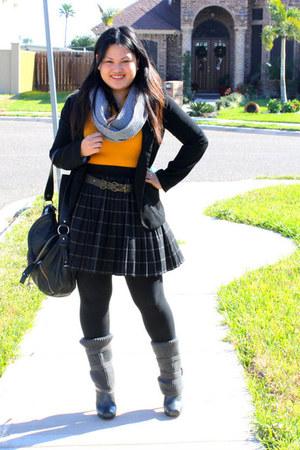 mustard AmiClubWear dress - dark gray Mossimo skirt - black Forever 21 blazer -