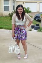 green Rue 21 dress - beige Charlotte Russe cardigan - brown Forever 21 belt - pu