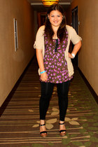 black Prada shoes - black Forever 21 leggings - pink Lush blouse - camel Charlot