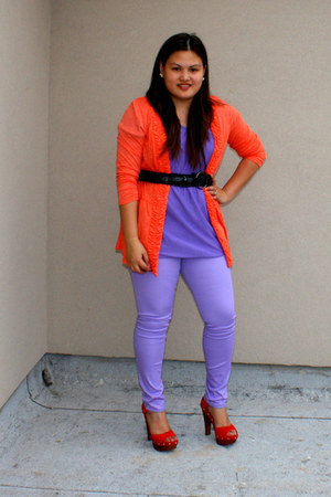 burnt orange Steve Madden shoes - purple MaxRave blouse - orange Macys cardigan 