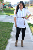 black Wet Seal intimate - white Macys top - brown Forever 21 belt - black Target