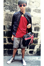 Black-greenhills-bazaar-jacket-red-almost-famous-t-shirt-gray-dockers-shorts
