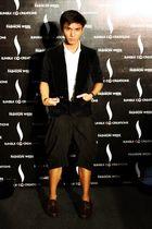 black coat - white Zara top - black pants - brown shoes