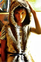 light brown fur Zara vest - white tribal print People are People t-shirt - navy