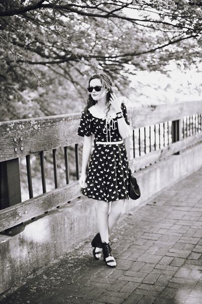 black swan print eShakti dress - black frame Target purse