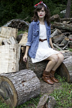 brown leather studded boots - white lace Xhileration dress
