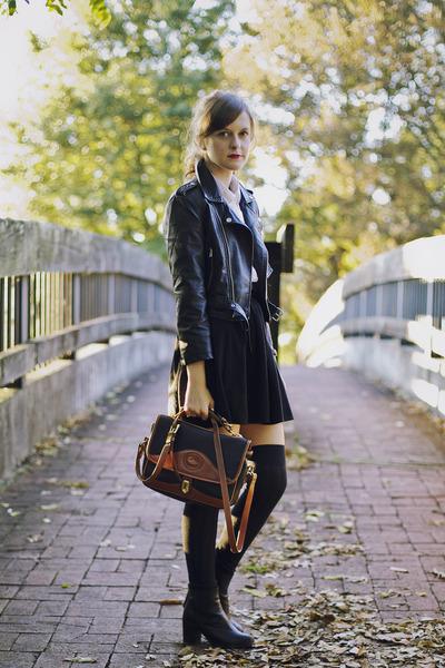 black motorcycle Nasty Gal jacket - black vintage Dooney & Bourke purse