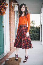 plaid vintage skirt - carrot orange v-neck Target sweater